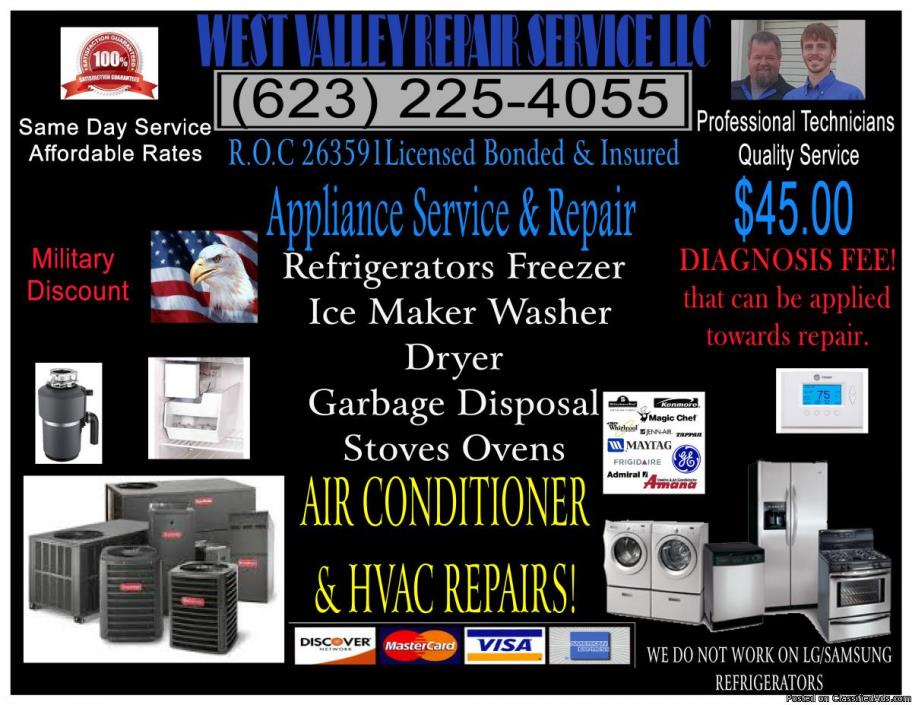 HVAC Repair | AC Repair | Repair affordable diagnosis $45.00 LICENSED & INSURED