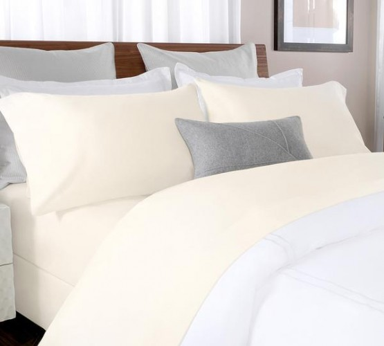 Buy Percale Bed Sheet In Beige Color