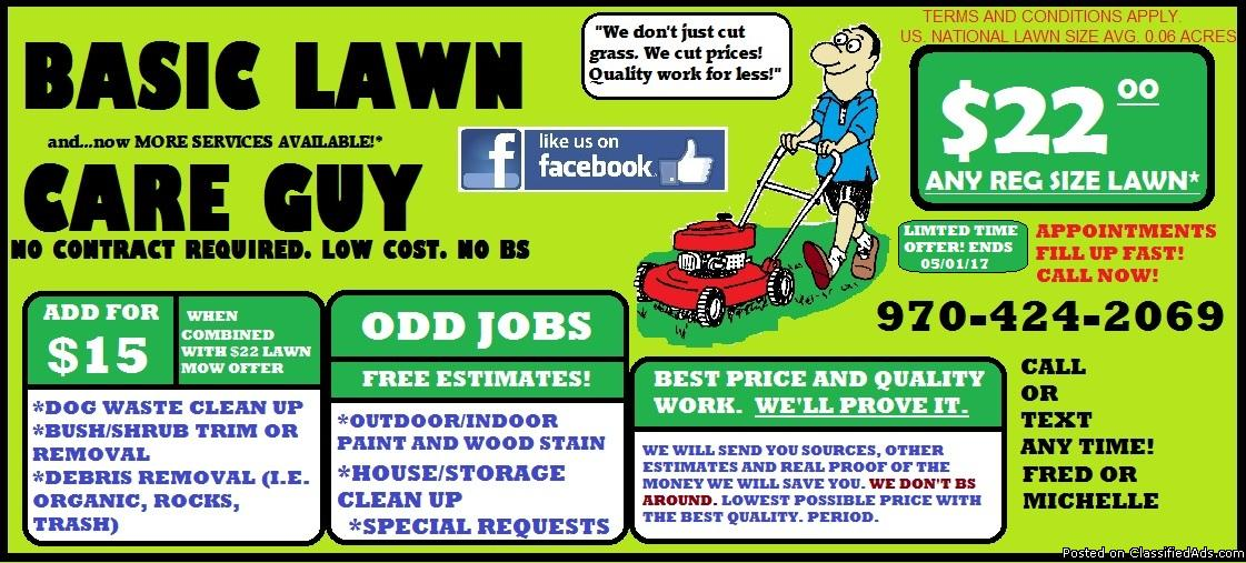 >>$22<< BEST LAWN MOWING DEAL IN GJ FRONT AND BACK!!! ROCK BOTTOM ODD JOB...