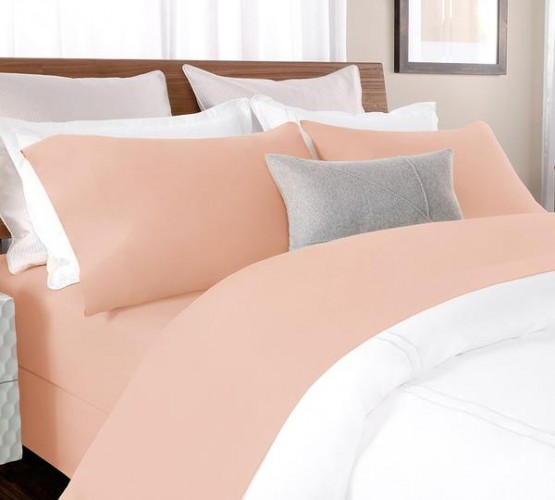 Buy Percale Bed Sheet In Blush Color