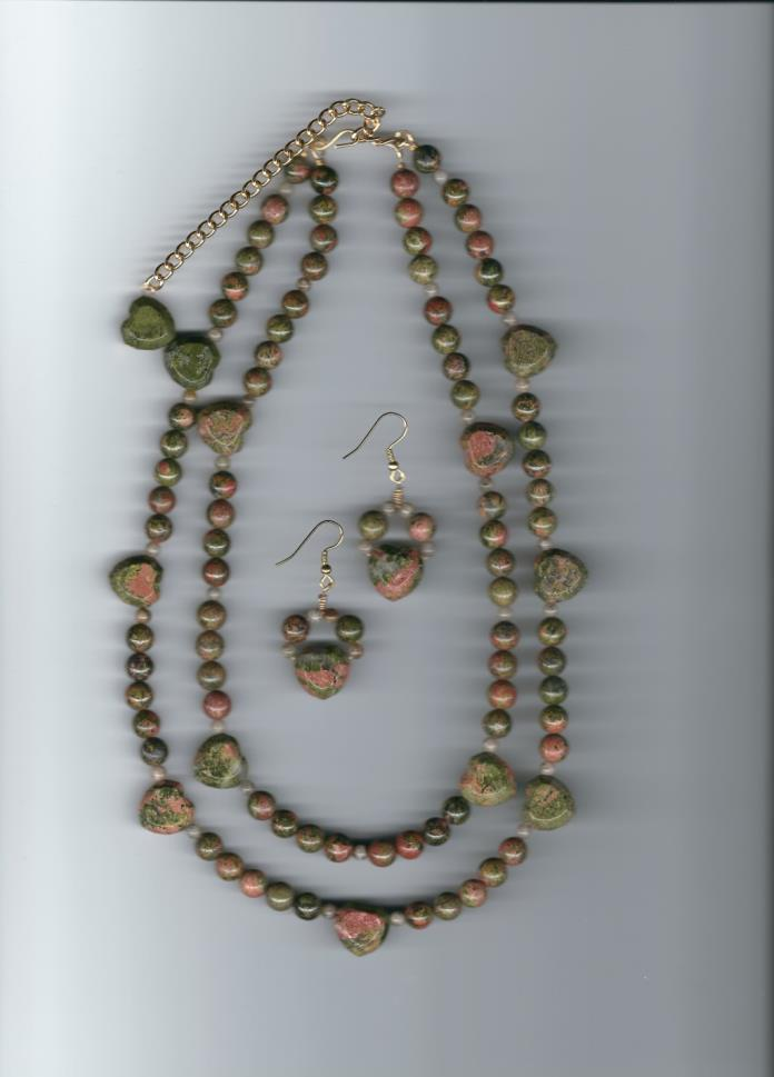 Two Strands Unakite and Grey Feldspar Beads with Earrings Sets