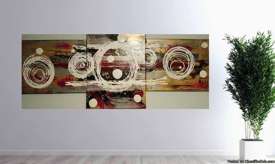 3 piece abstract hand painted art set