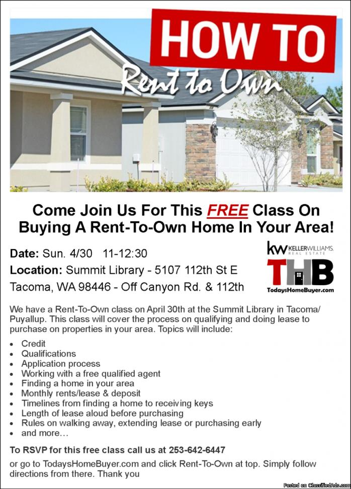 Rent-To-Own Class on Sunday 4/30 @ 11:00-12:30