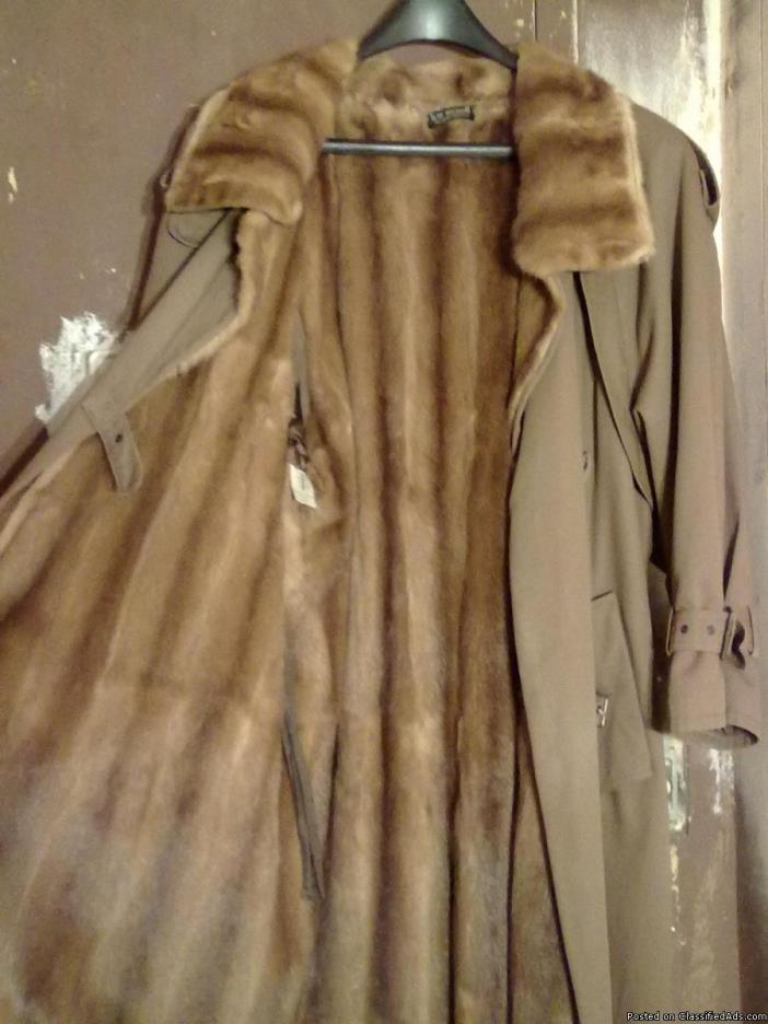 Custom Made Mink Lined  Unisex  Trench Coat