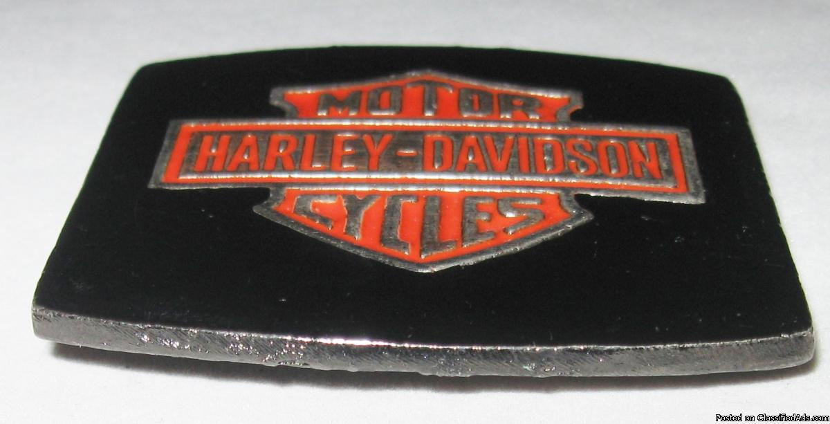 Rare Vintage Harley Davidson Motor Cycles Logo Orange Black No. 1053 Belt Buckle