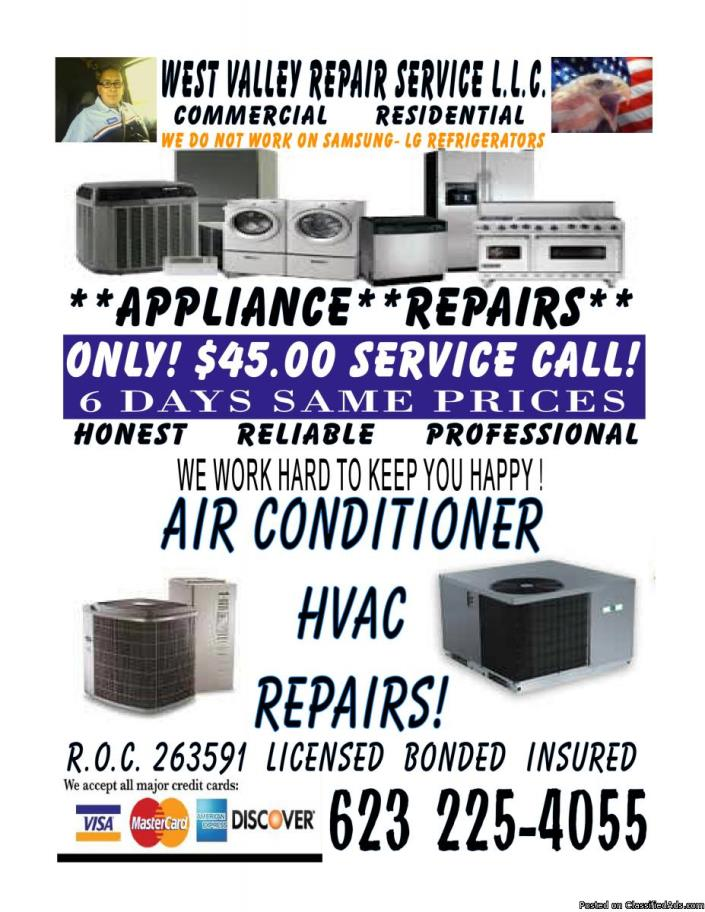 Whirlpool Refrigerator ALL appliance  repair service Licensed & Insured $45...