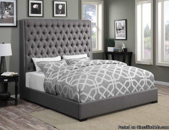 Queen grey linen Beds without mattress.