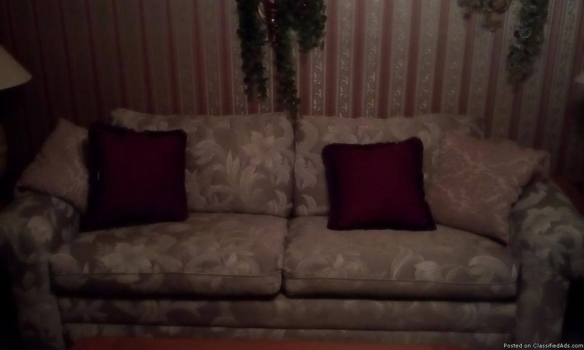 Couch, light floral pattern