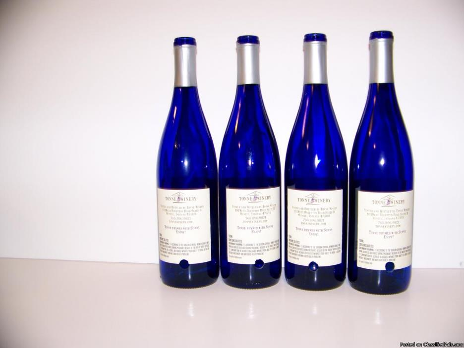 Blue Drilled wine bottles