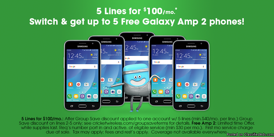 5 Free Galaxy amp 2s when you port to cricket