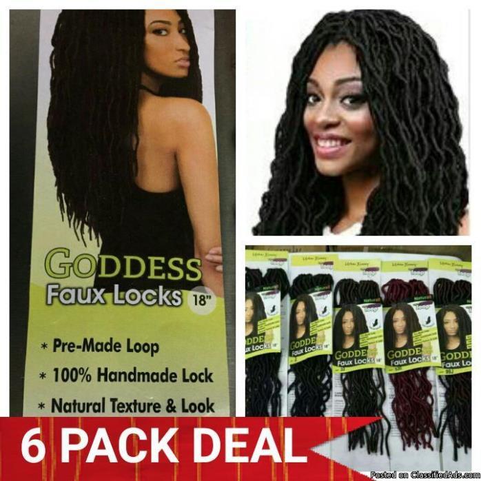 6 PACKS DEAL=> GODDESS FAUX LOCS CROCHET BRAID HAIR 18