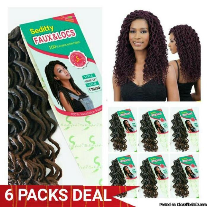 6 PACKS DEAL => CURLY FAUX LOCS SYNTHETIC CROCHET BRAIDING HAIR 18