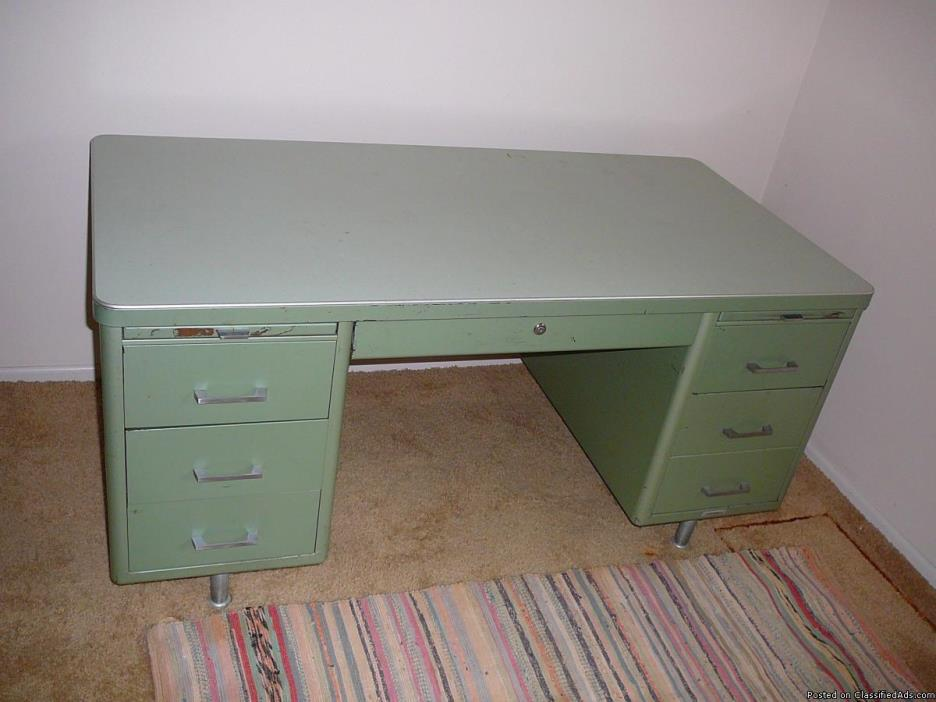 Vintage INDUSTRIAL METAL OFFICE DESK