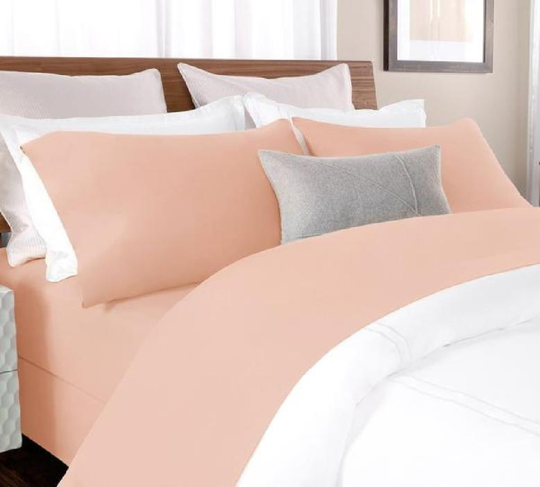 Percale Bed Sheet In Blush Color