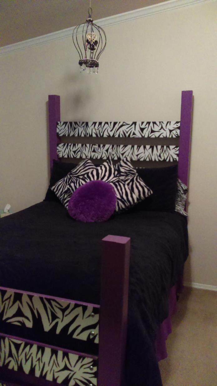 Zebra stripe girls bedroom set