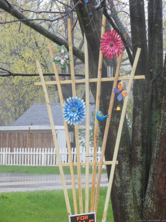 Flower Trellis with decorations and chimes