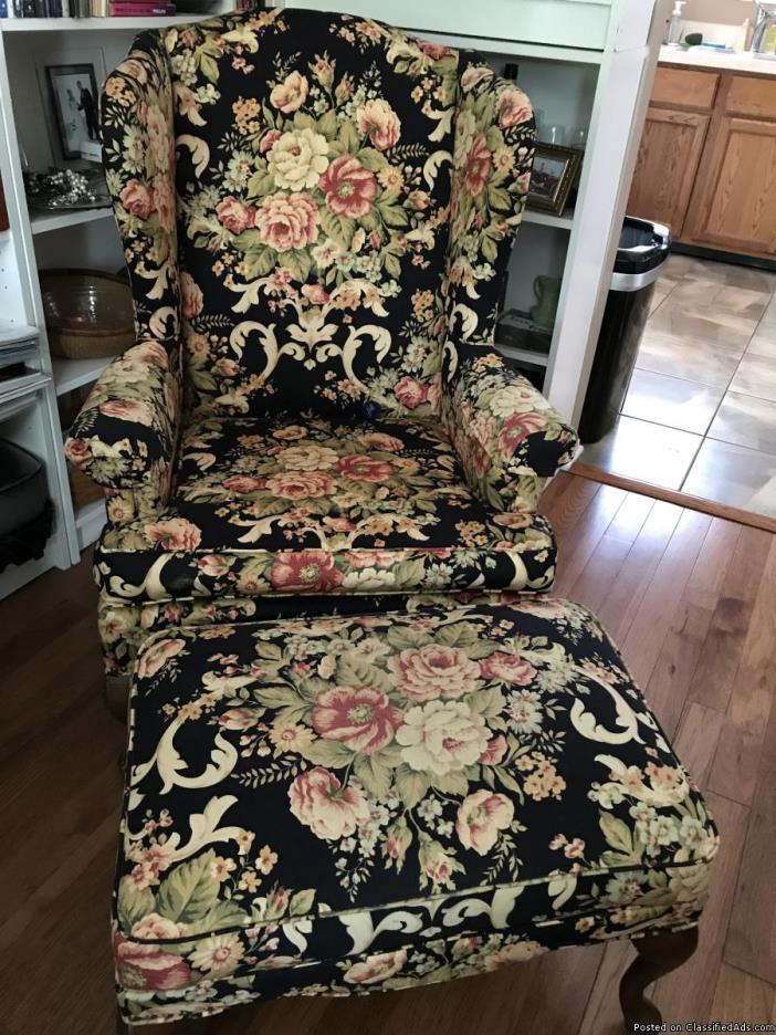 Queen Anne Wingback Chair for Sale with Ottoman