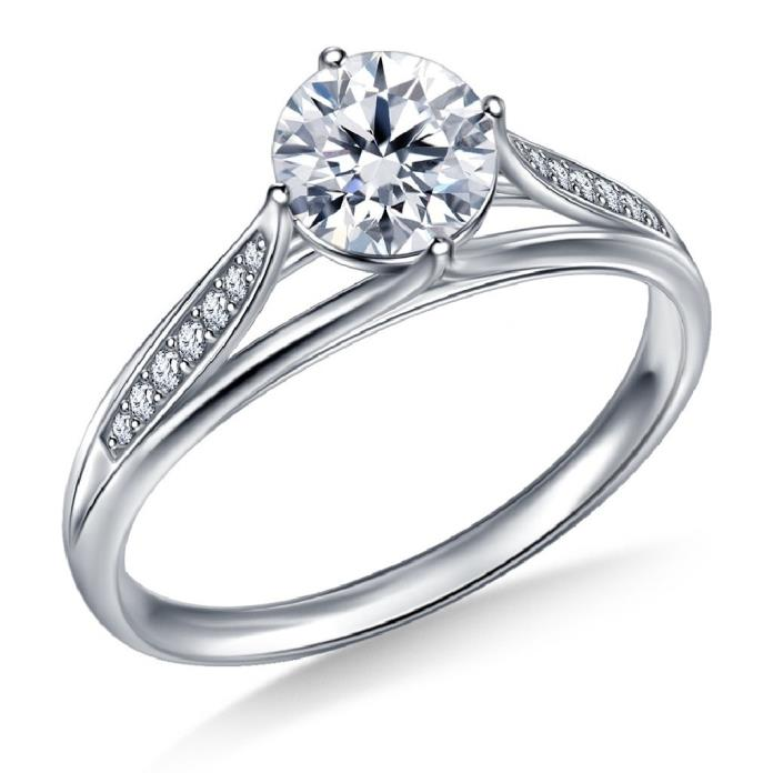 Buy Brand New 3/4 Ct. Tw. Diamond Pave Engagement Ring With Floral Tulip Design In 14K White Gold