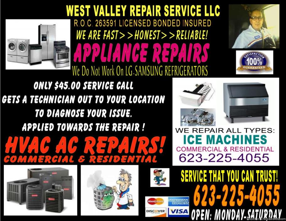 KENMORE Appliance Repairs Call US 1st WASHERS REFRIGERATORS ICE MAKERS OVENS...