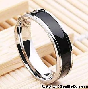 Fashion Men Women Black Titanium Band Stainless Steel Ring