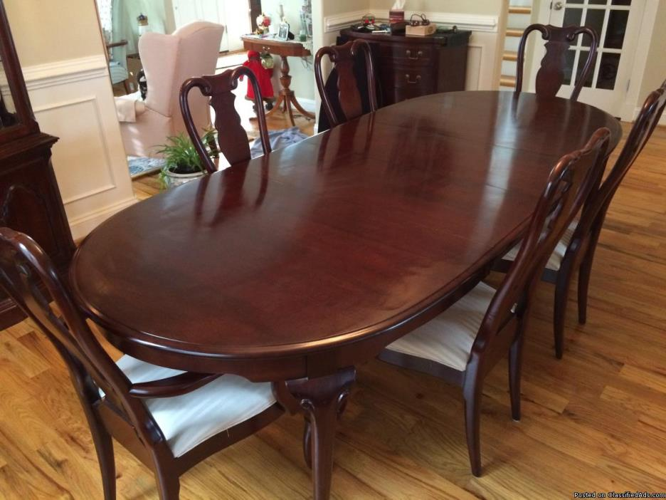 Cherry dining table, chairs and cabinet
