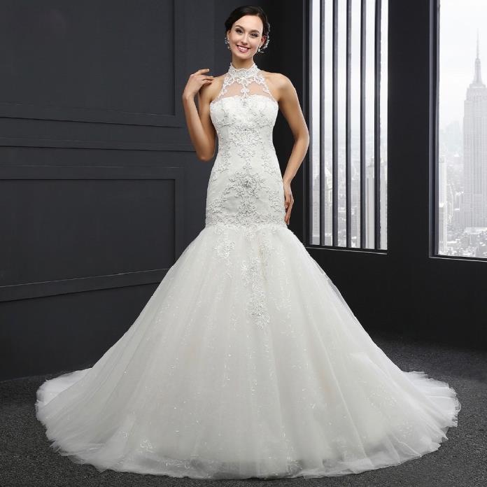 Candice's Mermaid Lace Halter Top Wedding Dress