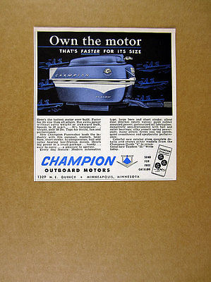1956 Champion Pacemaker 16 1/2 HP Outboard Motor vintage print Ad