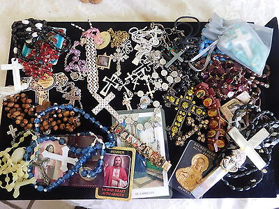 Vintage Jewelry Religious repair Silver Cross Rosary Bead Necklace Pendant Lot