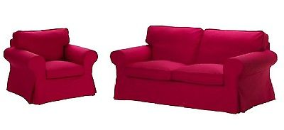 IKEA Ektorp Loveseat & Chair Slipcovers Idemo Red Two Seat Sofa and Chair Covers
