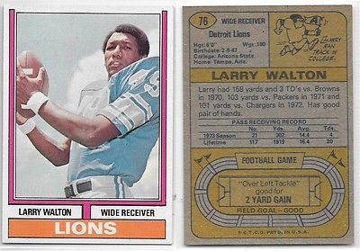 1974 Topps Larry Walton #76, Detroit Lions Football Card