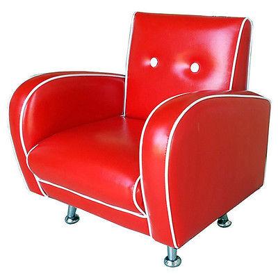 Contemporary Child Arm Chair Vinyl Club Mini Red Vanilla Flambay