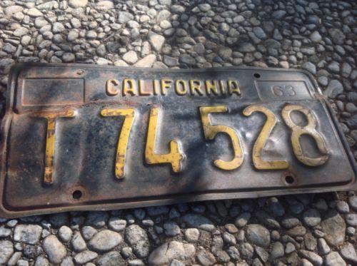 California License Plate Tag Black 1963 T74528 Cal 63