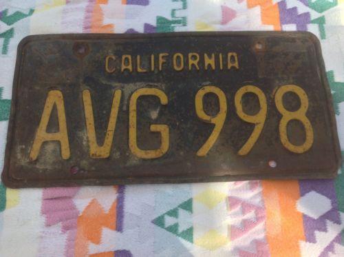 California License Plate Tag Black Expired AVG998. 1963 63
