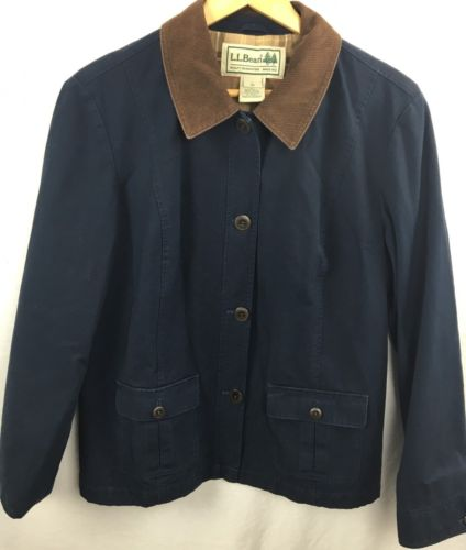 LL Bean Canvas Barn Field Jacket Coat Mens Sz L Hunting Lined Plaid Navy Blue