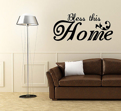 Wall Decal Bless This Home Sticker Quote Living Room Saying Decor Sign J253