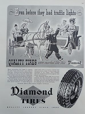 1937 ORIG PRINT AD DIAMOND TIRES even before they had traffic lights