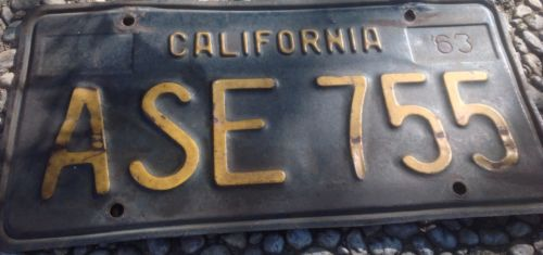 California License Plate Tag Black 1963 ASE755