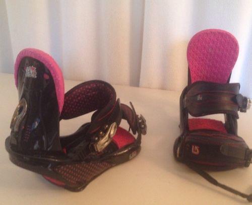 Women's Ladies Size Large Burton Lexa Snowboard Bindings Black Pink