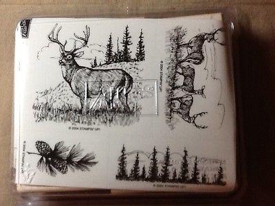 Stampin' Up! NOBLE DEER (wood) NEW UNMOUNTED, 4 stamps, Mule Deer, Pine Trees