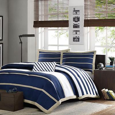 3 Piece Striped Pattern Comforter Set in Navy and White Twin/Twin XL Size