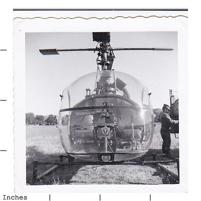 Old Square Photo ARMY MAN SOLDIER BY HELICOPTER IN FIELD GREAT SHOT