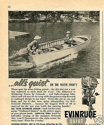 1954 Evinrude Fishing Boat Outboard Motor Print Ad