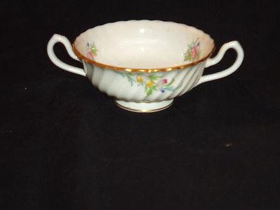Antique Minton Bromley Floral Pattern Gold Trim Double Handled Cream Bowl