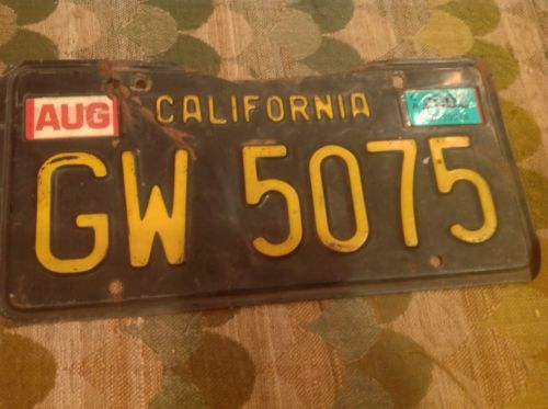 California License Plate Tag Black 1963 GW5075