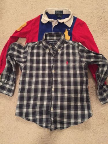 Lot Of 2 Boys size 3/3T Ralph Lauren Polo Blue Plaid And Blue And Red Big Polo