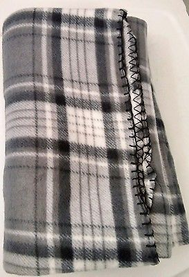 White Gray Plaid Blanket fleece Throw 50x60 NWT