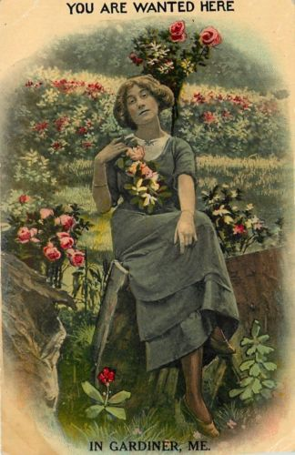 You Are Wanted Here in Gardiner Maine~Lovely Lady Lounges Amongst Flowers~1916