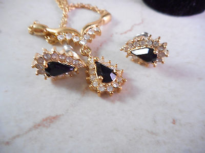 Vintage Roman Signed Gold Chain Necklace with Rhinestones ,Matching Earrings