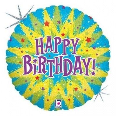 Happy Birthday Metallic Balloon - Round with Burst. Huge Saving