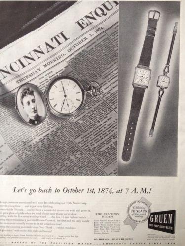 VINTAGE PRINT AD 1944 (C10)~GRUEN PRECISION WATCH CELEBRATING 70 YEARS